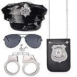 Haichen Juego de Accesorios para Disfraz de policía Sombrero de Oficial de policía Esposas Gafas de Sol Insignia de policía(Set-C)