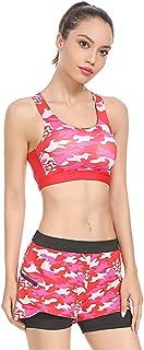 BaronHong Petite Women Camo Strap Sports Bras Tops+ Shorts-High Impact Workout Gym Activewear Bra