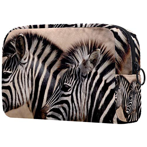 AITAI Bolsa de maquillaje grande para viaje, organizador de cosméticos de cebra animal salvaje