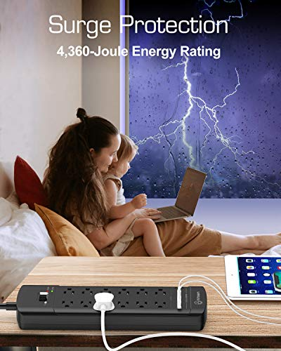 Power Strip,Witeem Surge Protector with 12-Outlet (1875W/15A,4360Joules) and 4 USB Charging Ports (5V/6A,30W),6Ft Extension Cord,Wall Mountable Overload Protection Outlet for Home & Office, Black 3