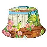 FULIYA Chapeau bob en polyester avec photo sur fond uni, motif botanique, pour homme, femme, adolescent - - Taille Unique