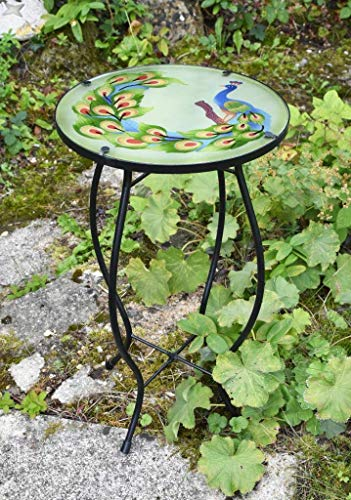 Iron/Glass Round Mosaic Design Side Table Garden Outdoor Patio Flower Plant Stand (Peacock)