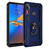 BestST Custodia Motorola Moto P40 Power/Motorola One Action Cover, Heavy Duty Cover Hybrid Armor Hard Back Custodia Cover, Holster Kickstand [Antiurto] Custodia Paraurti Rugged Adatta,Blu