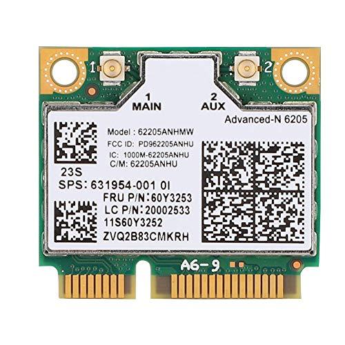 ASHATA Mini Tarjeta de Red Inalámbrica para Intel para Thinkpad,Tarjeta WiFi Banda Dual 2.4G / 5GHz Tarjeta de Red 300 Mbps para HP/para Zhaoyang, 802.11N Mini PCI-E WiFi Tarjeta de Red