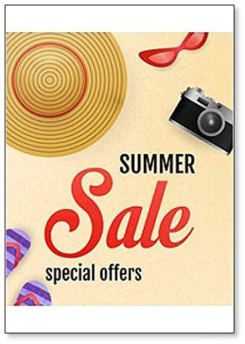 Summer Sale - Schriftzug mit Strand, Kamera, Hut und Flip Flops Kühlschrankmagnet