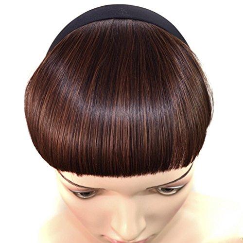 Vococal® Gerade Bang Haarteile Vollem Pony Haarteile Clip-in Haare Perücken Haarverlängerungen mit Haarband, Hellbraun