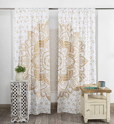 Popular Handicrafts Indian Hippie Bohemian Beautiful Ombre Color Mandala Curtain Panels White Gold