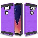 Wtiaw Compatible with LG V30 Case,LG V30S Case,LG V30 Plus Case,LG V30S ThinQ Case,LG V35 Case,LG V35 ThinQ Case,LG V30 Phone Case,Brushed Metal Texture Case for LG V30-CL Purple