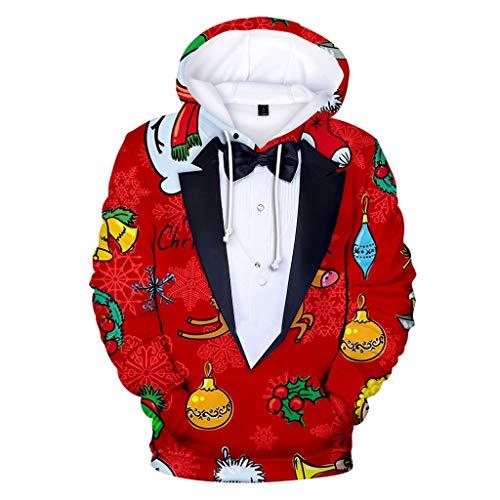 Herren Weihnachten Kreativ-Kapuzen-Shirt Kapzenpulli Mode 3D Weihnachten Hemd...