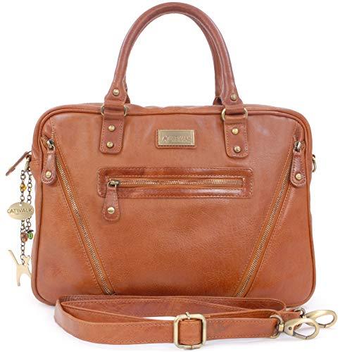 Catwalk Collection Handbags - Leder - Schultasche/Arbeitstasche/Aktentasche für Damen - Laptop/iPad - Vintage Leder - SIENNA - Hellbraun