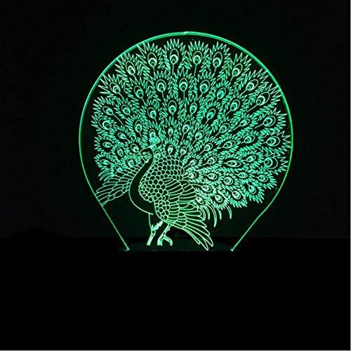 ilusión óptica 3D de luz nocturna lámpara para sala de estar pavo real regalo de cumpleaños para jóvenes, niñas Con interfaz USB, cambio de color colorido