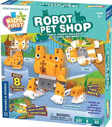 Thames & Kosmos Kids First Robot Pet Shop: Owls, French Bulldogs, Sloths & More! STEM Experiment Kit for Young Engineers | Build 8 Motorized Robots of Cute Animals | Play & Learn with Storybook Manual