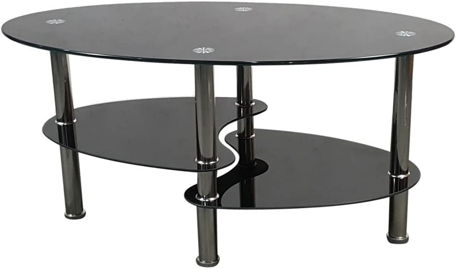 Glass Coffee Table 2-Tier Modern excellence Max 56% OFF Smooth En Tea Oval