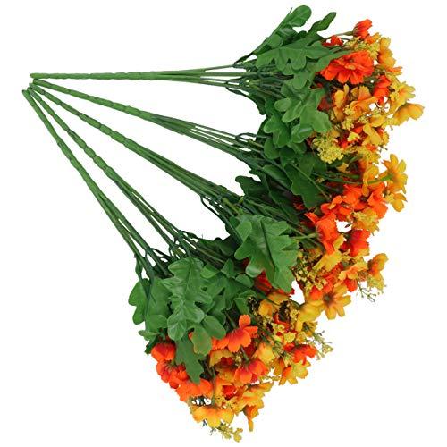 BeSTOYARD 5 peças de flores artificiais margaridas orquídeas falsas de seda buquê de damas dançantes para decoração de casa, escritório, ambientes internos e externos