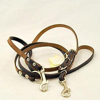 Kej Elropet Laisse pour chien en cuir réglable sur 3 positions Marron Largeur 20 mm Longueur 220 cm