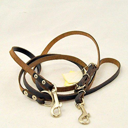 Kej Führleine Hundeleine Leder 20 mm breit, 220cm lang, 3-Fach verstellbar, braun