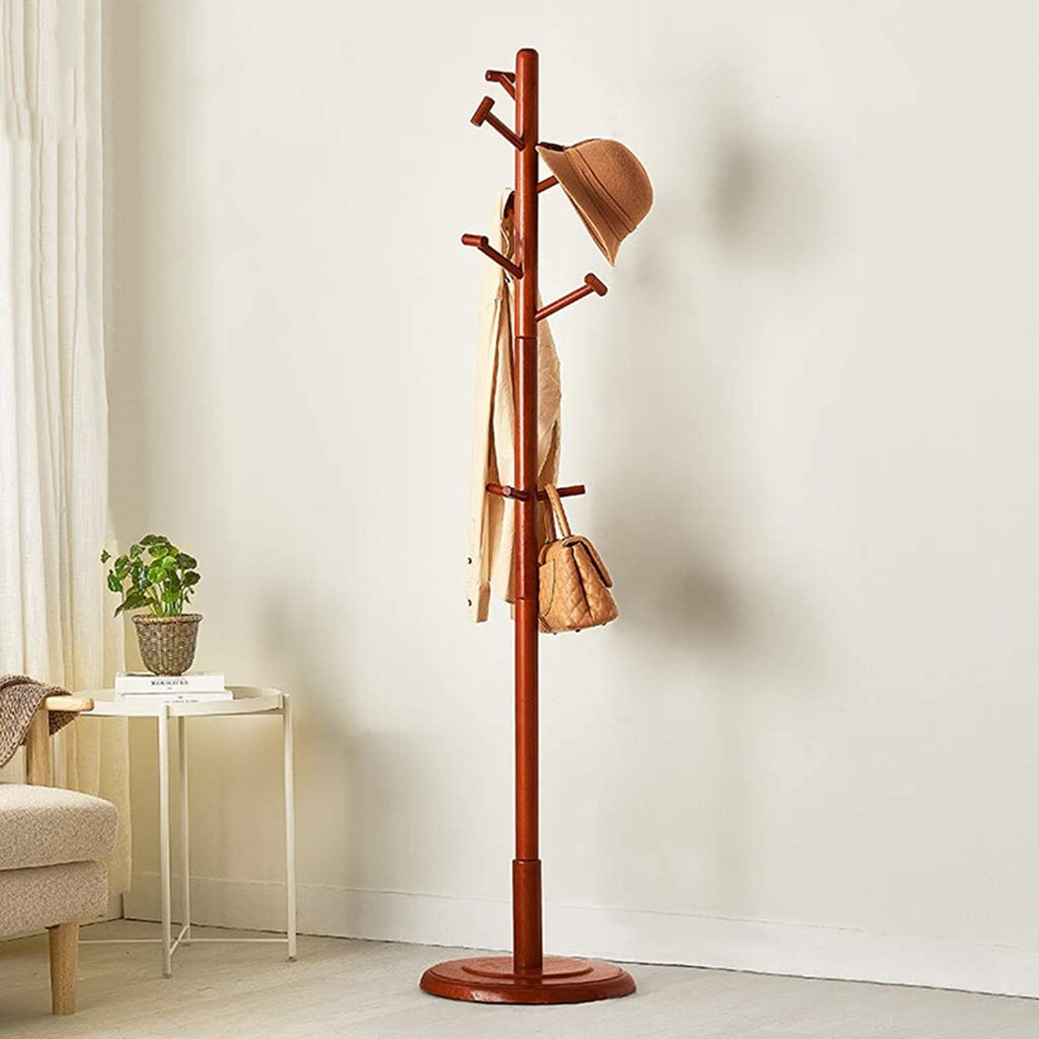 Standing Coat Racks Coat Stand Solid Wood Coat Hat Umbrella Floor Standing Rack Clothes Rack Hat Coat Rack Floor Hanger Hall Clothes Tree Floor Hanger -0223 (color   Red Wine)