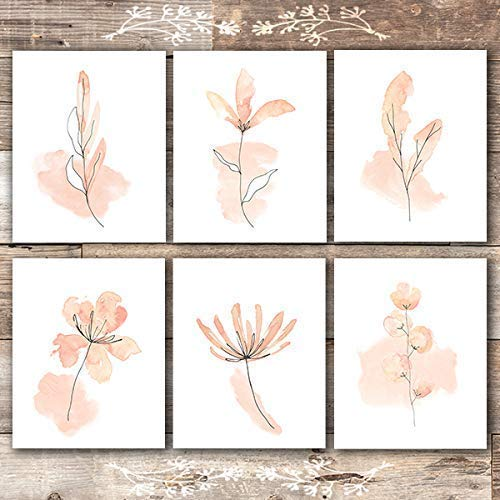 Floral Watercolor Sketches Art Prints (Set of 6) - Unframed - 8x10s | Botanical Wall Decor