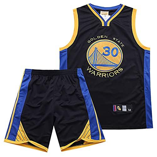 SSRSHDZW NBA Krieger Curry Nº 30 Jersey Jersey Traje Verano Ciudad Edición Uniforme de Baloncesto Dos Piezas Traje Negro 3XL