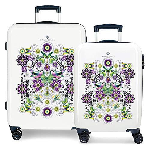 Catalina Estrada Abanico Juego de maletas Azul 55/68 cms Rígida ABS Cierre combinación 104L 4 Ruedas dobles Equipaje de Mano