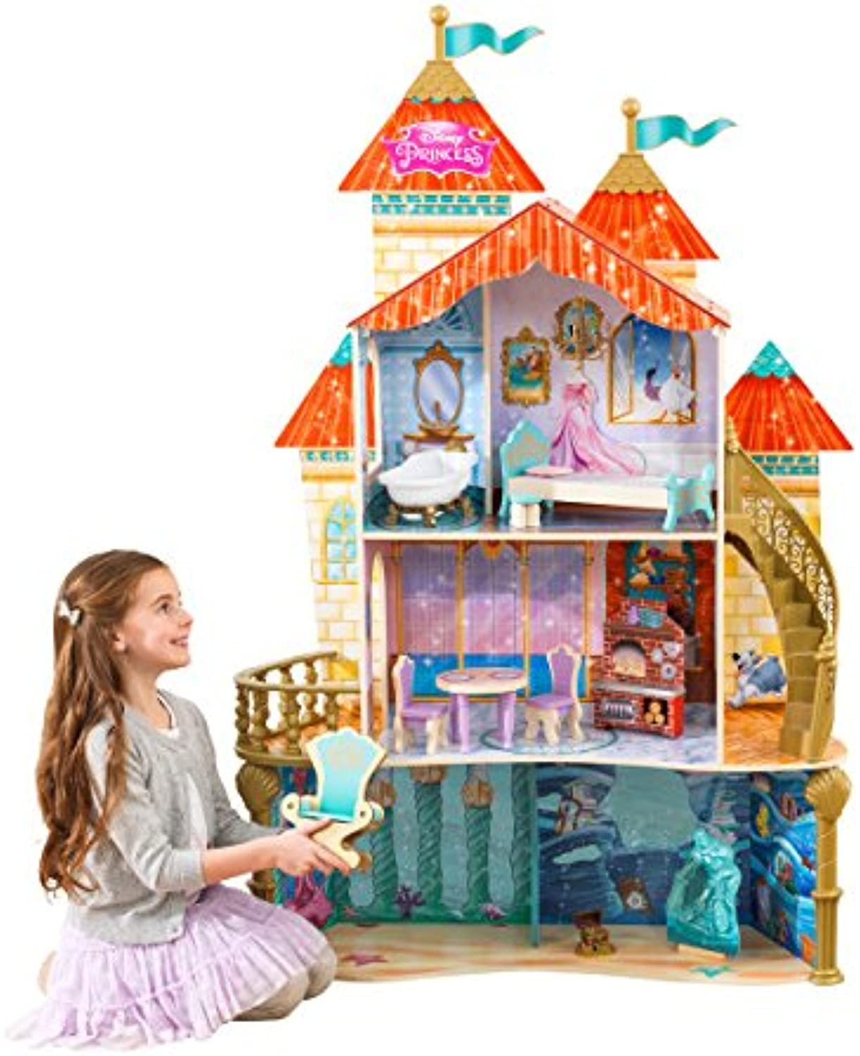 KidKraft 65939 Disney Princess Ariel Land to Sea Castle Wooden Dolls House with furniture and accessories included, 3 storey play set for 30 cm   12 inch dolls
