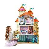 KidKraft 65939 Maison de poupées en bois Disney Princesse Ariel incluant accessoires et mobilier, 4 étages de jeu pour poupées 30 cm