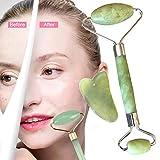 Jade Roller Massagegerät und Gua Sha Set Natürliche Anti-Aging Gesicht