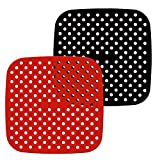 Enkomy Fodera per friggitrice ad Aria Riutilizzabile, tappetini per cestello in Silicone Quadrato Antiaderente da 8,5 Pollici