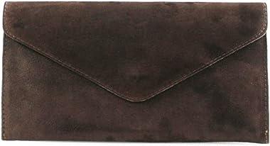 Damen-Clutch aus Veloursleder, italienisches Leder, Braun - coffee - Größe: Medium