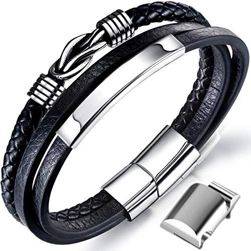 Männer Armband Leder Armreif schwarz Lederband für Herren, geflochten Echtleder Breites Lerderarmband Wickelarmband mit Magnet Verschluss (Lederarmband mit Extra Glieder)