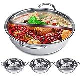 Hot Pot Kocher, 30/32 cm, Mandarinentopf, Küche, Kasserolle, Suppe, Kochwerkzeug, Edelstahl, Dualer Hot Pot Induktionsherd Shabu (32 cm)