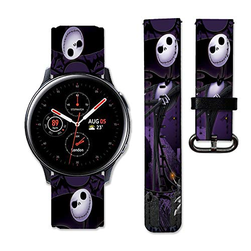 Nightmare Before Christmas Band Compatible with Samsung Galaxy Watch 3 Active 2 40mm 41mm 42mm 45mm 46mm Gear S3 S2 and Other Watches 20and 22mm Wristband Straps Leather Bands 02 (20mm)