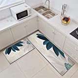 Kitchen Rug,L Shape 2 Pieces Kitchen Mats Runner Set Blue and White Flowers Pattern Cushioned Anti-Fatigue Kitchen Rug for Floor Waterproof Washable Rugs for Kitchen Laundry Room Hallway Entry,50X80