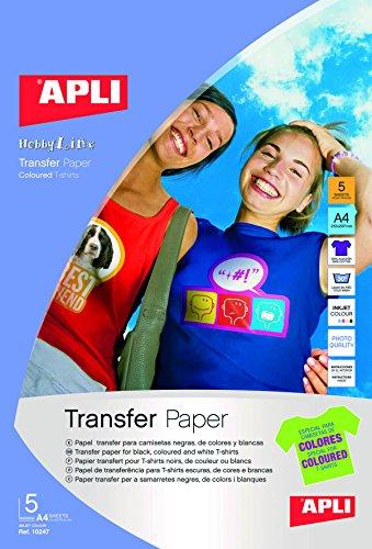 APLI 724049 - Bolsa con 5 Hojas de Papel de Transferencia Térmica, Multicolor
