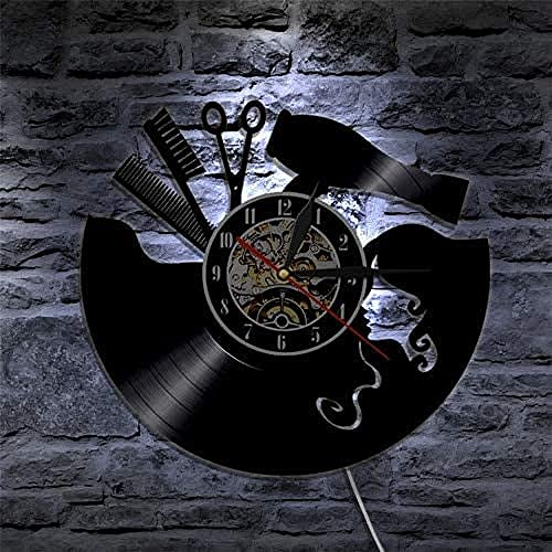 XYLLYT Barbero Retro Disco de Vinilo Reloj de Pared barbero Industrial Moderno Reloj de Pared afición Colgante de Pared Arte Buena Idea Regalo