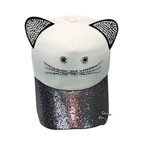 unsex Baseball Cap Ronamick Frauen Nette Katze Ohr Pailletten Ring Baseballmütze Hut Hip Hop Flachen Hut (Weiß)