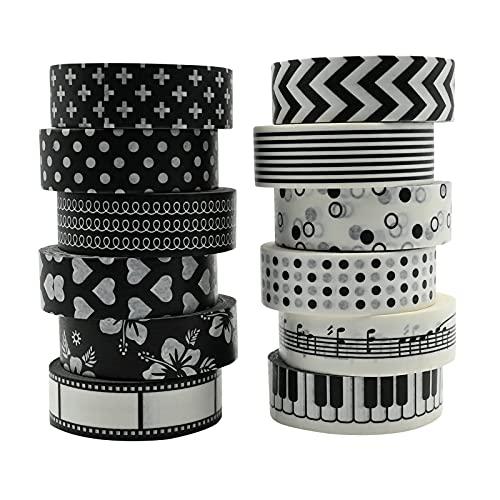 Washi Tape Set,10 Rollos cinta adhesiva decorativa Washi de blanco y negro, Japonesa Adhesivo de Cinta Decorativa para DIY Crafts Scrapbooking,manualidades, planificadores del día