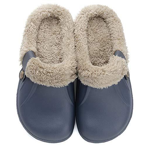 Flyd Hausschuhe Damen Herren Winter Warm Gefüttert Pantoffeln Clogs Haus Rutschfeste Plüsch Schlappen, Blau, Gr.- 44-45 EU