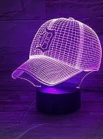 3D野球帽子キャップナイトライト錯覚テーブルライトムードランプタッチコントロール7色ホームライト