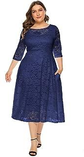 KCatsy Women Plus Size Women Dress Lace Round Neck 3/4 Sleeves Mid-Calf Big Hem
