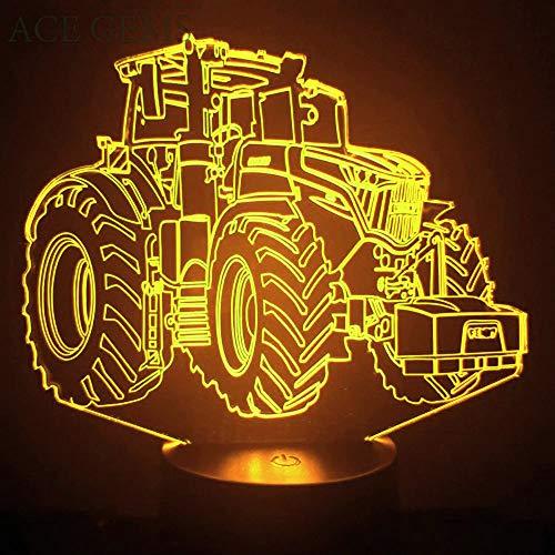 3D Traktor LKW Auto Nachtlampe 7 Farben ändern Touch Control LED Schreibtisch Tisch Nachtlicht mit bunten USB Powered für Kinder Kinder Familie Ferienhaus Dekoration Valentinstag Geschenk