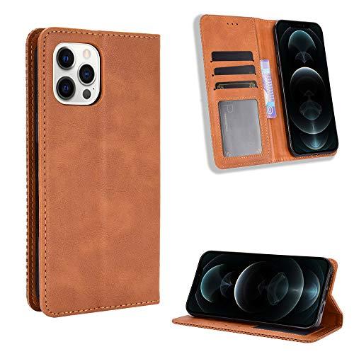 Snow Color iPhone 12 Pro Hülle, Premium Leder Tasche Flip Wallet Case [Standfunktion] [Kartenfächern] PU-Leder Schutzhülle Brieftasche Handyhülle für Apple iPhone 12 Pro 2020 - COBYU011188 Braun