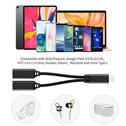 USB Type C Headphone Jack Adapter, Dual USB Type C Splitter, Audio Charge and Music 2 in 1 Aux Cable Compatible, for iPad Pro, MacBook, Google Pixel 2/3/4/2XL/3XL, Samsung Note10/10+, A8 , Black
