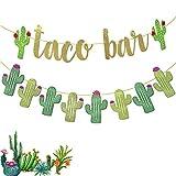 2 Set Fiesta Taco Bar Cactus Banner Garland, Gold Green Glittery Fiesta Banner for Mexican Fiesta Party Cinco De Mayo Decorations