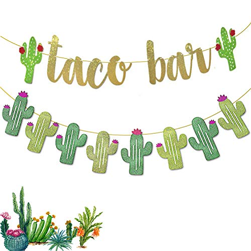 2 Set Fiesta Taco Bar Cactus Banner Garland - Gold Green Glittery Fiesta Banner for Mexican Fiesta Party Cinco De Mayo Decorations