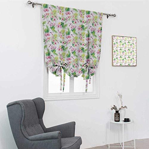 Luau Drapes para dormitorio, ramas de flores hawaianas con hojas gigantes exóticas y pájaros con estampado de botánica para barra de bolsillo, color rosa bebé, verde lima, 48 pulgadas x 64 pulgadas