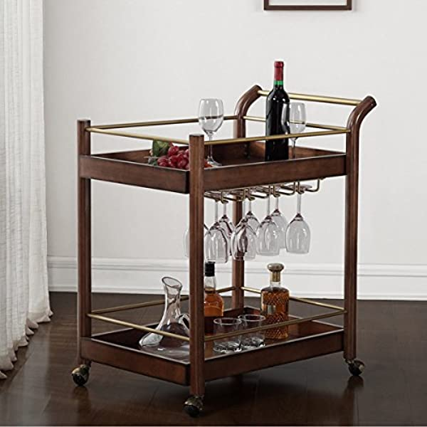 Mid Century Style Wood Bar Cart Brown