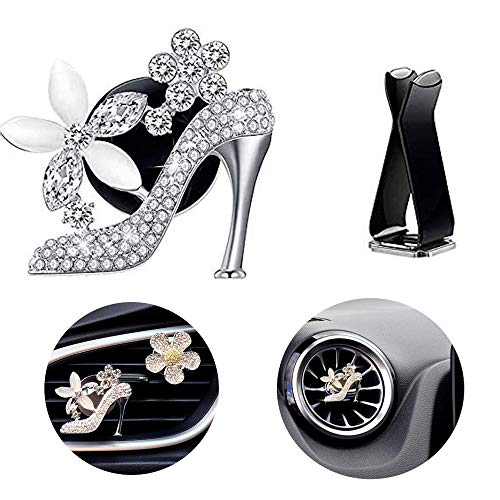 maxtech High Heel Shoe Diamond Car Clip, Crystal Women Shoe w/Flowers Car Air Vent Clip Rhinestone Car Bling Accessories