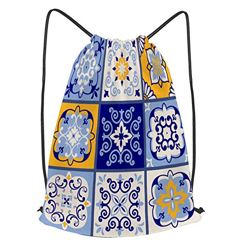 fudin Impermeable Bolsa de Cuerdas Saco de Gimnasio colección 9 baldosas cerámicas estilo turco Deporte Mochila para Playa Viaje Natación