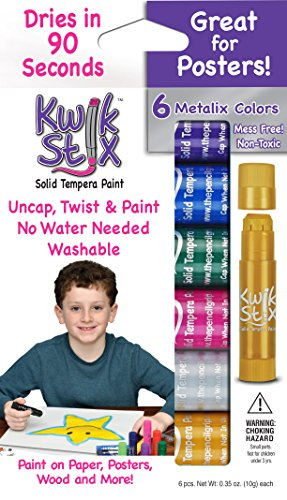 The Pencil Grip Kwik Stix METALIX Solid Tempera Paint, Super Quick Drying, 6 Pack (TPG-613),Gold,Silver,Pink,Green,Blue,Purple